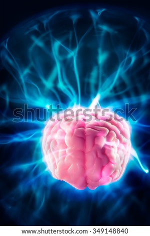 high contrast image, mind power concept with human brain and light rays on a blue background