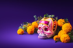 High contrast image of a sugar skull used for