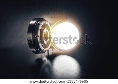 high contrast image of an open bank vault door. 3D rendering / illustration Сток-фото ©