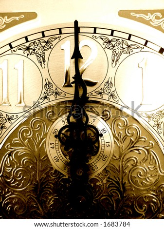 high contrast image of grandfather clock face