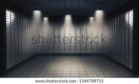 High contrast image of the inside of a bank vault filled with security boxes. 3D illustration/ rendering Сток-фото ©