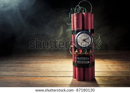 high contrast image of timebomb with smoke