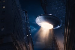 high contrast image of UFO over a city at night with light rays / view from below