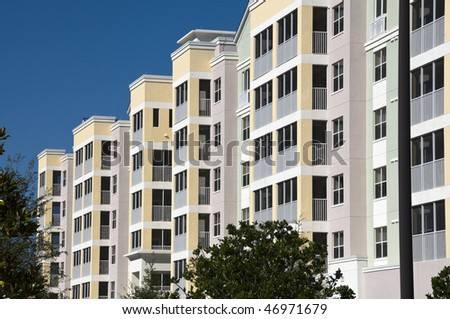 High contrast multi colored high rise condominiums with individual balcony's