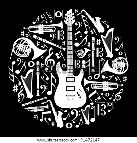 High contrast music instruments silhouette in circle shape.