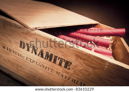 high contrast photo of dynamite sticks on a box