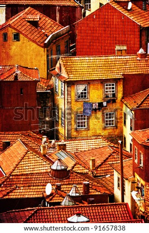 high-contrast picture of a roof landscape in the abandoned historic city of Porto