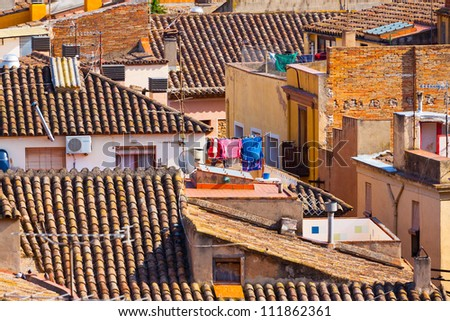 high-contrast picture of a Spanish town roof landscape in Catalonia