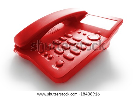 high contrast red telephone with shadow
