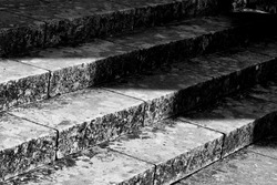 High contrast stone church steps