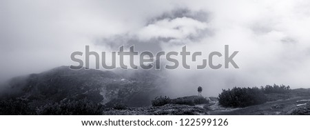 high contrasted black and white mountain panoramic landscape