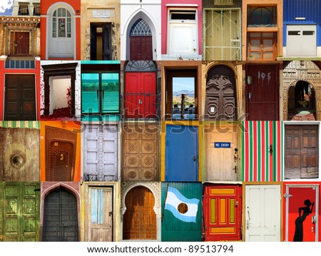 High-definition composition of 32 street doors in various locations of the world