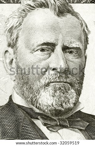 High definition Grant portrait from 50 dollars banknote