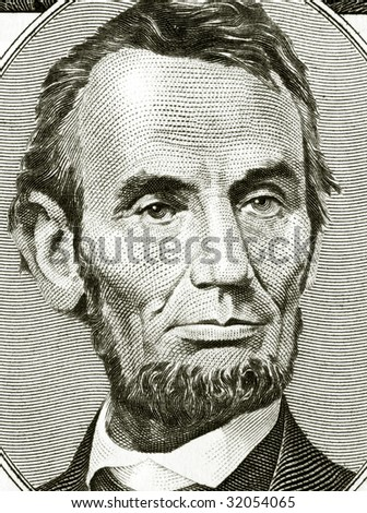 High definition Lincoln portrait from 50 dollars banknote - stock photo