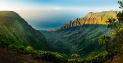 High definition panorama over Kalalau Valley as sunset taken in HDR at Kalalau, Kauai, Hawaii