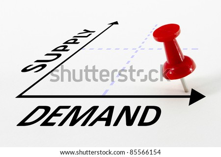 High Demand and Low Supply analysis concept on a graph with a red push pin