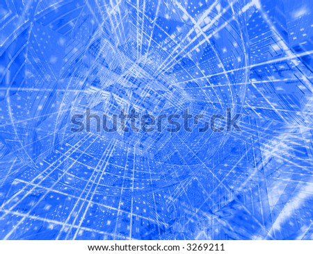 High detail 3d render of an abstract blue  background - resembles a city of the future, or a high-tech microchip