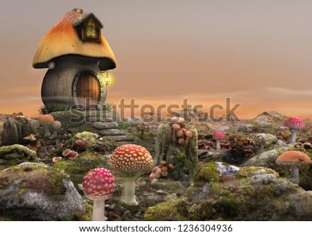 High detail fantasy scene of a magical fairy mushroom house, landscape, 3d render