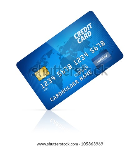 High detail illustration of a plastic credit card. Isolated on white.