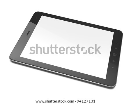 High-detailed black tablet computer (tablet pc) on white background, 3d render.  Modern portable touch pad device with white screen.