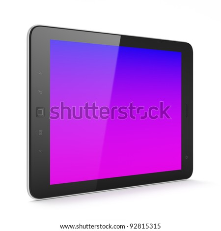 High-detailed black tablet pc, 3d render. Tablet computer isolated on white