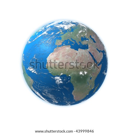 high detailed globe map, europe, africa