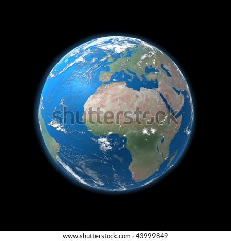 high detailed globe map, europe, africa