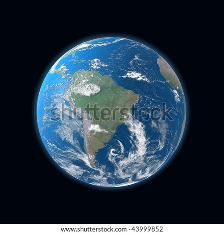 high detailed globe map, South and Central America