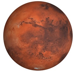 High detailed Mars planet of solar system with south pole side isolated on white background. Elements of this image were furnished by NASA
