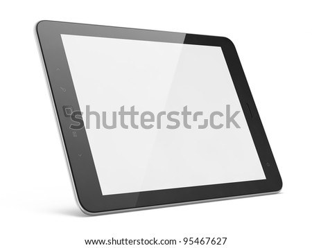High-detailed modern time black tablet pc, 3d render. Tablet computer isolated on white - stock photo