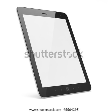 High-detailed modern time  black tablet pc, 3d render. Tablet computer isolated on white