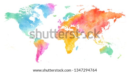 High detailed Multicolor Watercolor World Map Illustration with borders on white Background, Side View.