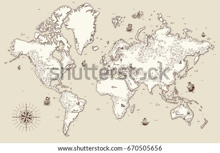 High detailed, Old world map with decorative elements, raster version #670505656