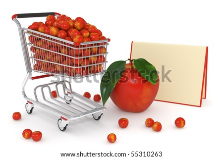 High detailed photo-realistic 3d render of red apples in a shopping cart