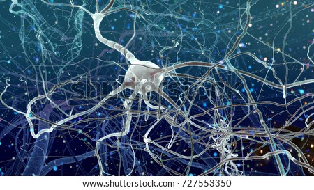 High detailed realistic 3D render, super macro close-up view of neurones inside of human brain