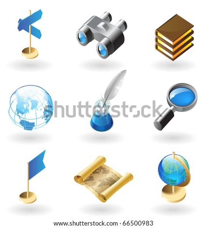 High detailed realistic icons for geography. Raster version. For vector version of this image, see my portfolio.