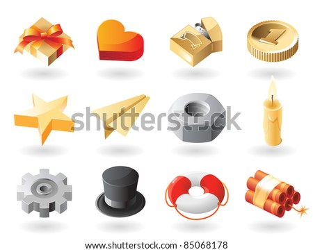 High detailed realistic icons for miscellaneous themes. Raster version. Vector version is also available. - stock photo