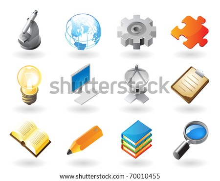 High detailed realistic icons for science, industry and technology. Raster version. Vector version is also available.
