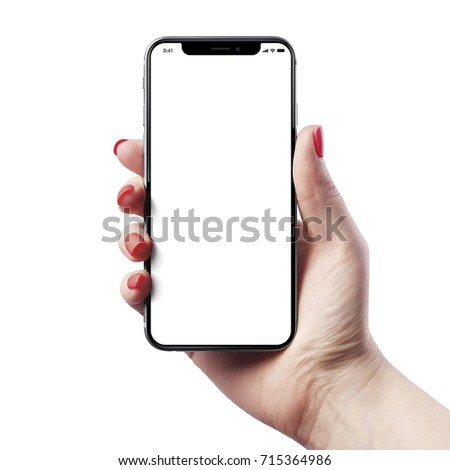High detailed Realistic smartphone in woman hand. - Shutterstock ID 715364986