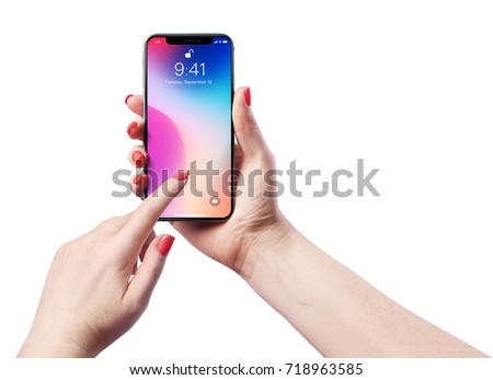 High detailed Realistic smartphone in woman hand. Vector illustration.                  - Shutterstock ID 718963585