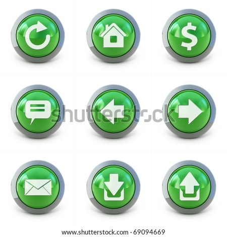 High detailed Set of web interface 3d buttons isolated on white