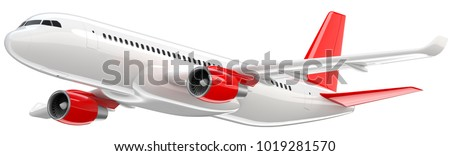High detailed white airliner with a red tail wing, 3d render on a white background. Airplane Take Off, isolated 3d illustration. Airline Concept Travel Passenger plane. Jet commercial airplane.