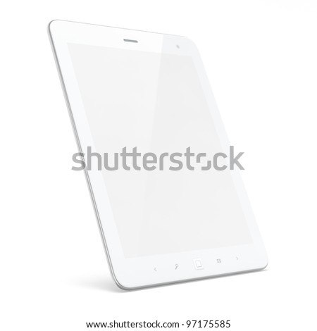 High-detailed white tablet computer (tablet pc) on white background, 3d render.