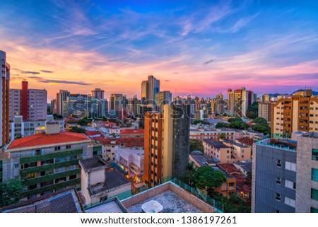 High Dynamic Range Aerial Panoramic View of Santo Antonio Neighborhood in Belo Horizonte during Sunset, Minas Gerais State, Brazil