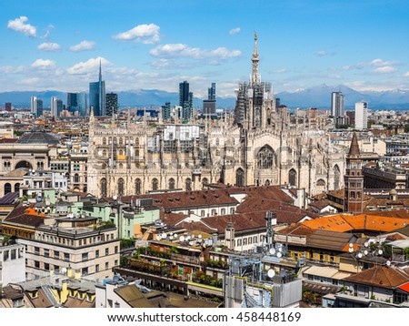 High dynamic range HDR Aerial view of Duomo di Milano gothic cathedral church in Milan, Italy #458448169