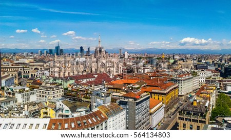 High dynamic range (HDR) Aerial view of the city of Milan, Italy #564134803