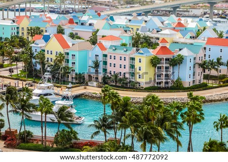 High dynamic range (HDR) Aerial view of the city of Nassau, USA