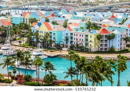 High dynamic range (HDR) Aerial view of the city of Nassau, USA #510765232