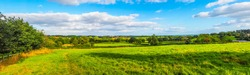 High dynamic range HDR English countryside landscape in Tanworth in Arden Warwickshire England UK - High resolution wide panorama