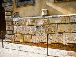 High dynamic range (HDR) Etrurian and Roman stones and urns, Montepulciano in Tuscany, Italy